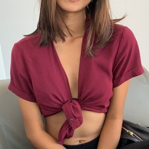 Burgundy Cropped Collared Button Down
